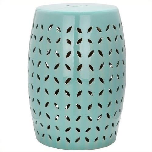 Safavieh Lattice Petal Ceramic Garden Stool in Robbins Egg Blue