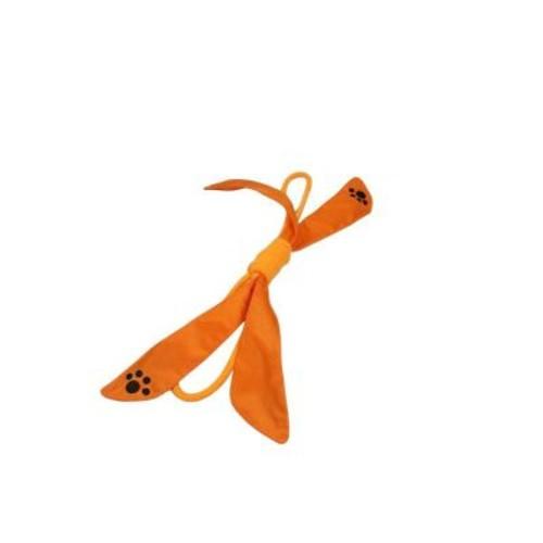 PET LIFE Extreme Bow Squeak Dog Rope Toy in Orange
