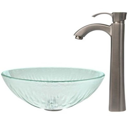 Vigo VGT322 Icicles Glass Vessel Sink and Otis Faucet Set in Brushed Nickel