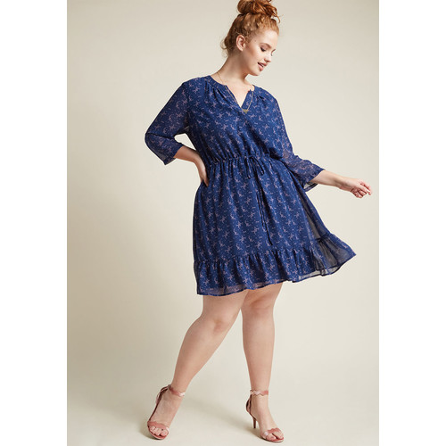Chiffon Shirt Dress with Ruffle Hem in Starry Night