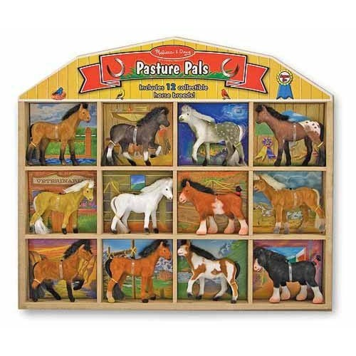 Melissa & Doug Pasture Pals - 12 Collectible Horses With Wooden Barn-Shaped Crate [Pasture Pals]