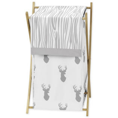 Sweet Jojo Designs Grey and White Stag Collection Fabric Laundry Hamper