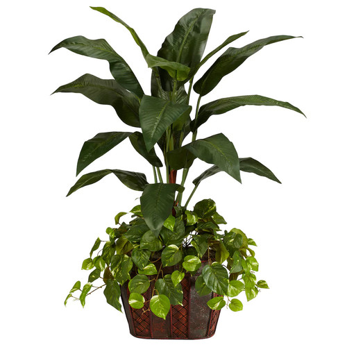 Nearly Natural 4 ft. Green Bird of Paradise with Vase and Pothos Silk Plant