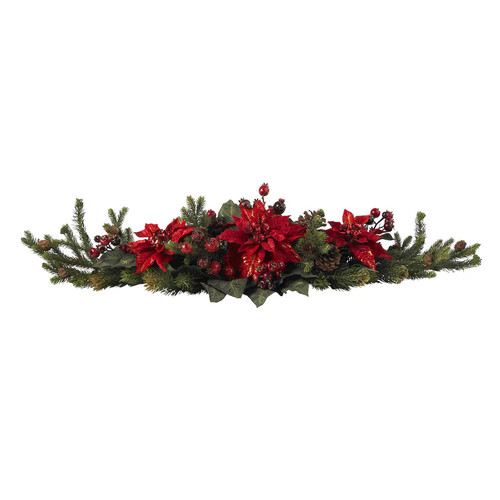 nearly natural Poinsettia & Berry Centerpiece