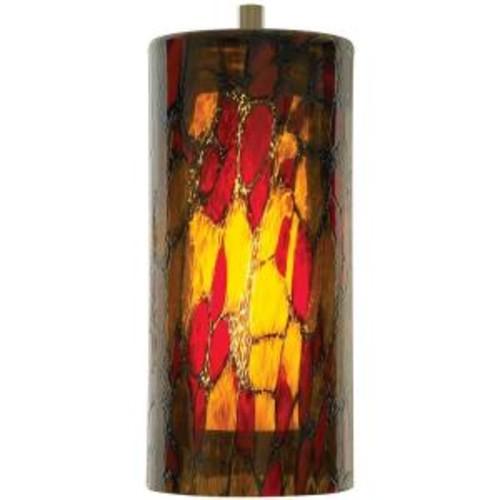 LBL Lighting Abbey 1-Light Amber-Red Satin Nickel Hanging Mini Pendant