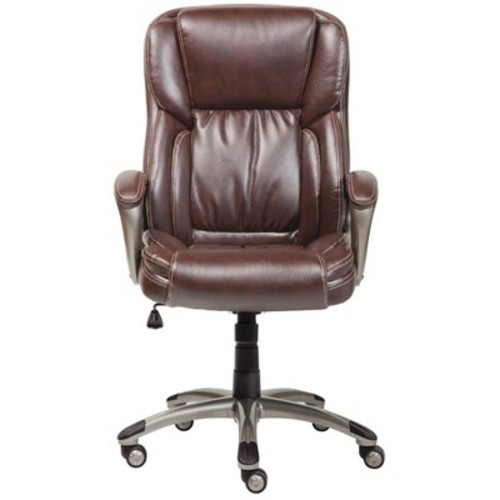 Executive Chair Biscuit Brown Bonded Leather - Serta