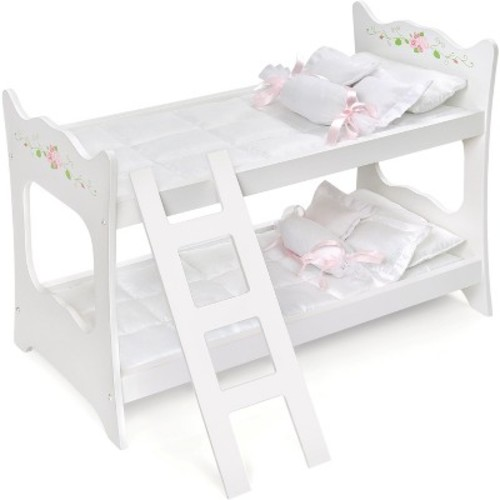 Badger Basket White Rose Doll Bunk Bed for 20-inch Doll