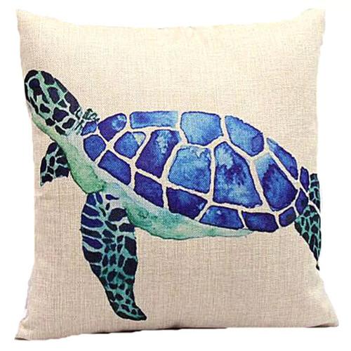 Lillowz Blue Sea Turtle Canvas Throw Pillow 17-inch