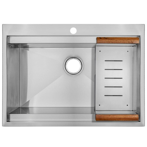 AKDY Handcrafted Drop-In Stainless Steel 30 in. x 22 in. x 9 in. 1-Hole Single Bowl Kitchen Sink