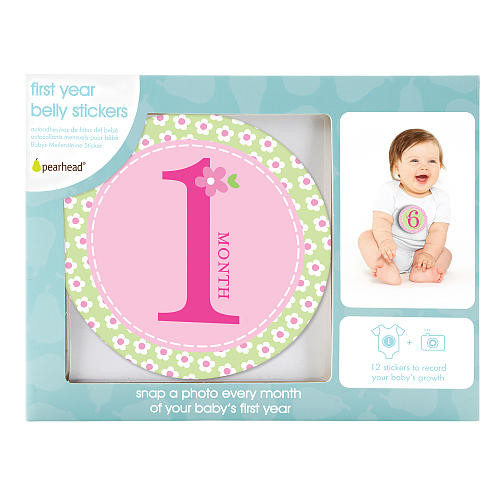 Pearhead Pink First Year Monthly Milestone Photo Sharing Belly Stickers