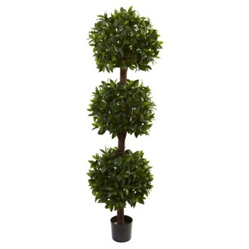 Nearly Natural Sweet Bay Triple Ball Topiary Green (6.5