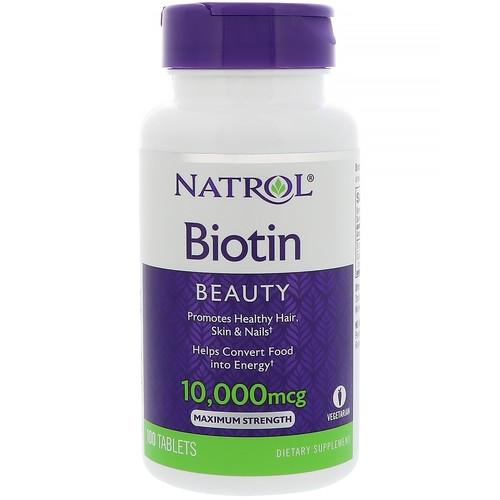 Natrol, Biotin, 10,000 mcg, 100 Tablets [Potency : 10,000 mcg]