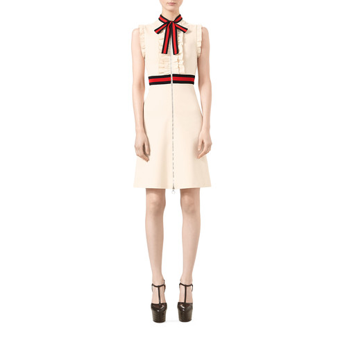 GUCCI Jersey Dress With Web Trim, Almond Flower