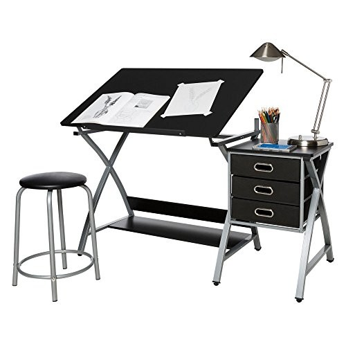 OneSpace 50-CS03 Craft Station with Stool, Black and Silver [Black and Silver]