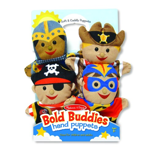 Melissa & Doug Bold Buddies Hand Puppets (Set of 4) - Knight, Pirate, Sheriff, and Superhero