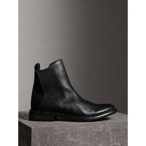 Brogue Detail Polished Leather Chelsea Boots