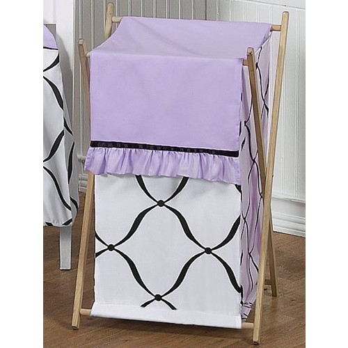 Sweet Jojo Designs Princess Black, White and Purple Collection Laundry Hamper