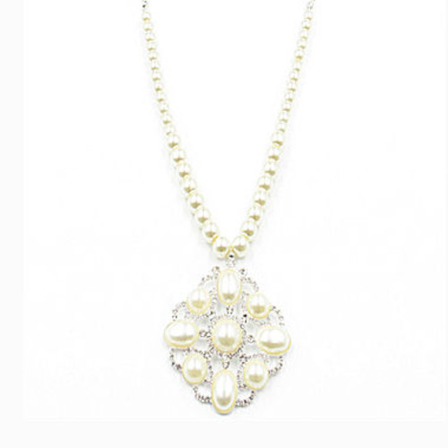 Vieste Simulated Pearl Silver-Tone Pendant Necklace - JCPenney