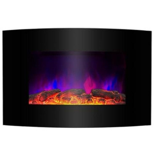 AKDY 36 in. Wall Mount Electric Fireplace Heater in Black with Curved Tempered Glass, Pebbles, Logs and Remote Control