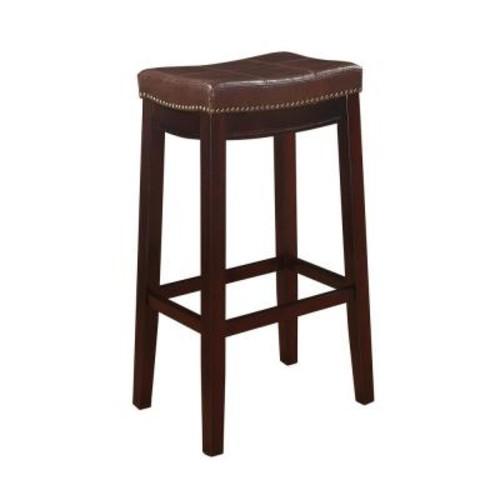 Linon Home Decor Claridge 32 in. Dark Brown Cushioned Bar Stool