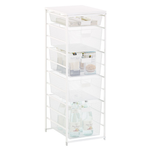 White Cabinet-Sized elfa Mesh Pantry Storage