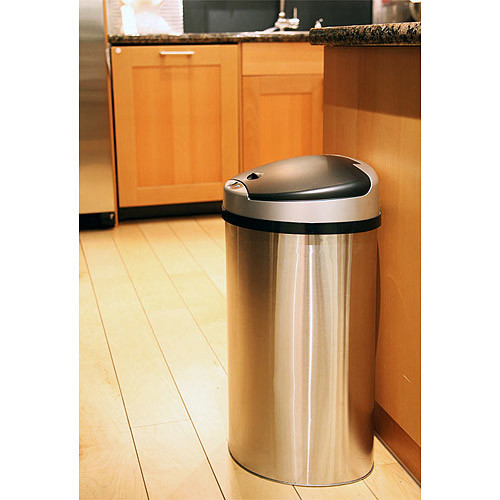 iTouchless 13 Gallon Automatic Touchless Kitchen Trash Can  Semi-Round Stainless Steel Can with Extra-Wide Opening [Silver/Black, 13 Gallon]