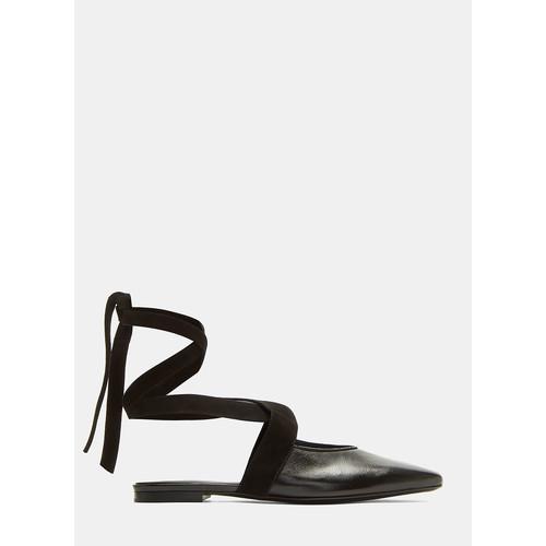 Open Flat Ballerina Shoes in Black