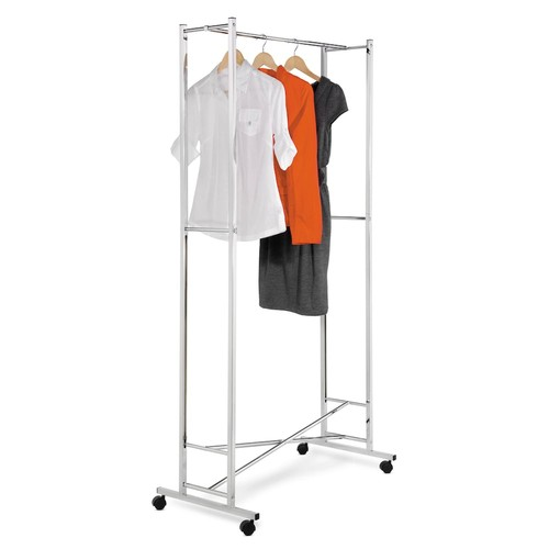 Honey-Can-Do GAR-01268 Deluxe Collapsible Garment Rack on locking Casters, Chrome Finish [Chrome, NoSize]