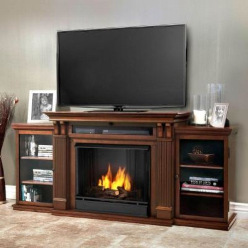 Real Flame Calie Entertainment 67 in. Media Console Ventless Gel Fuel Fireplace in Dark Espresso