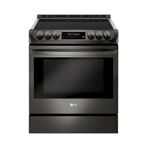 LG - 6.3 Cu. Ft. Self-Cleaning Slide-In Electric Induction Convection Range - Black stainless steel
