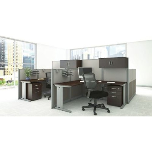 Bush Business Furniture Office in an Hour 65W x 65D L-Workstation with Storage and Chair, Mocha Cherry (WC36894-03SCFA)