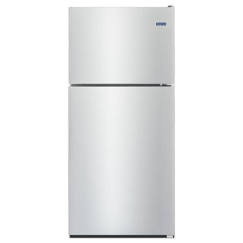 Maytag 33 in. W 21 cu. ft. Top Freezer Refrigerator in Monochromatic Stainless Steel