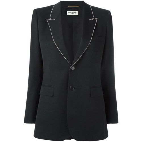 SAINT LAURENT Embellished Trim Lapel Blazer