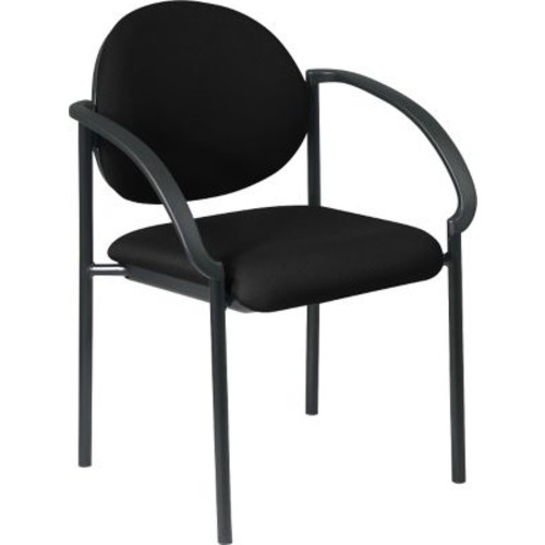 Office Star WorkSmart Fabric Stacking Chair with Arm and Plastic Shell Back, Black