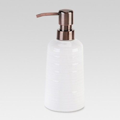 Ribbed Ceramic Soap Pump White - Threshold