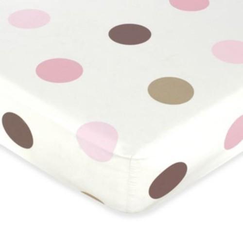Sweet Jojo Designs Mod Dots Collection Crib Sheet in Pink/Chocolate