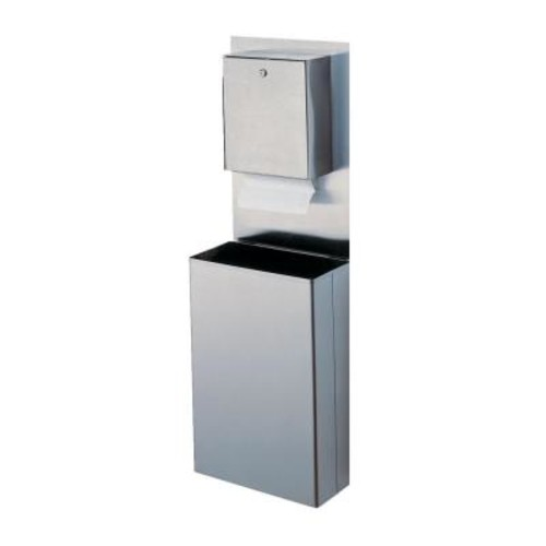 Stainless Solutions Wall-Mounted Small Towel Waste Bin System in Stainless Steel