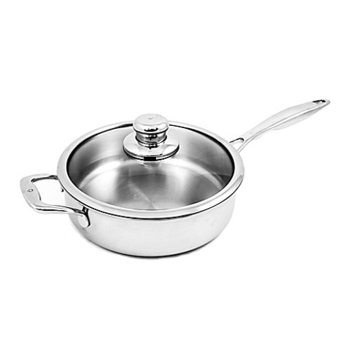 Swiss Diamond Premium Clad 4.2 qt. Stainless Steel Covered Saut Pan with Helper Handle