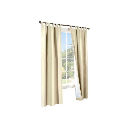 Thermalogic Weather Cotton Fabric Window Tab Curtain Panels Pair Natural