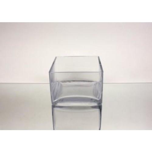 WGVInternational Pan Square Block Glass Vase; 4'' H x 6'' W x 6'' D