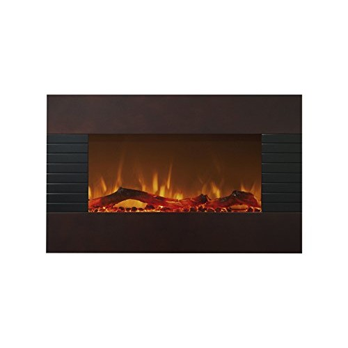 Northwest 80-422S Mahogany Fireplace With Wall Mount & Floor Stand, 36u0026quot;