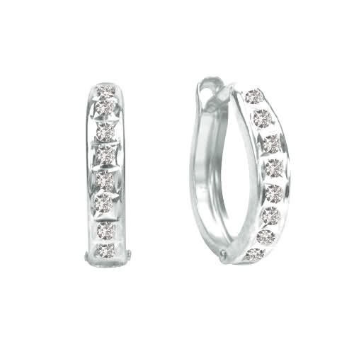 Diamond Fascination 14K White Gold Diamond Accent Round Hinged Hoop Earrings