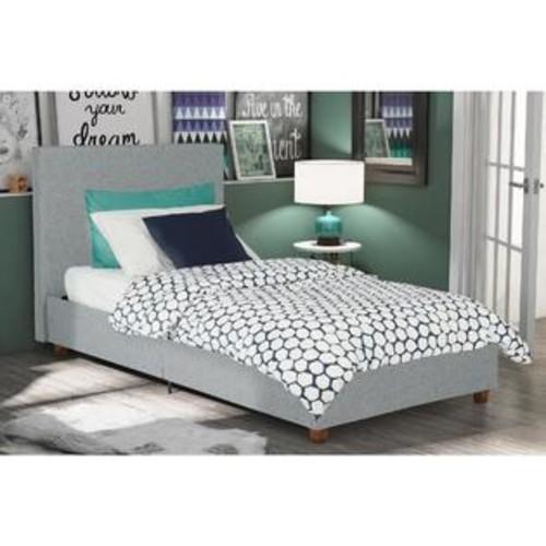 Dorel DHP Alexander Light Grey Upholstered Twin Bed