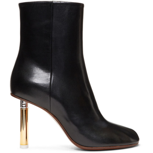 Black & Gold Lighter Heel Boots