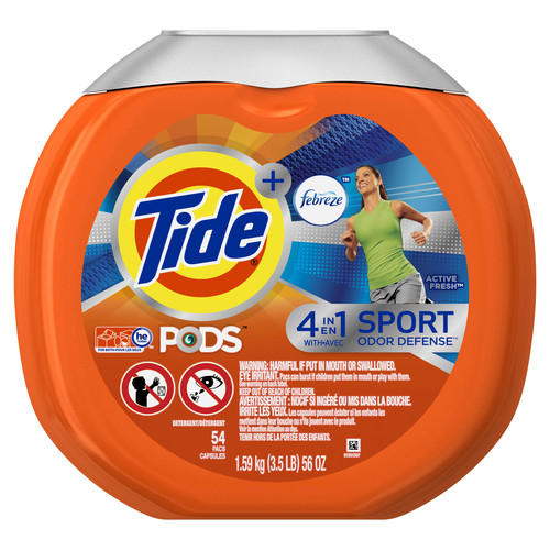 Tide PODS Plus Febreze Sport Odor Defense Laundry Pacs, Active Fresh Scent, 54 count, Designed For Regular and HE Washers
