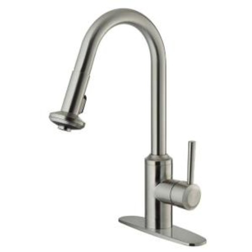 VIGO Single-Handle Pull-Out Sprayer Kitchen Faucet with Deck Plate in Stainless Steel