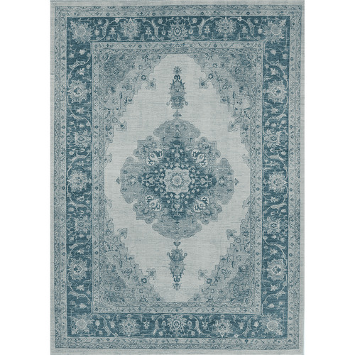 Ruggable Washable Indoor/Outdoor Stain Resistant Rug Set (Cover & Pad) u0026#8211; Parisa Blue