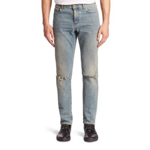 SAINT LAURENT Distressed Five-Pocket Style Jeans