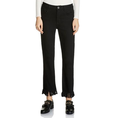 MAJE Panako Cropped Fringed-Hem Jeans