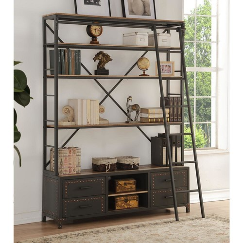 ACME Furniture Actaki Etagere Sandy Gray Bookcase with Ladder